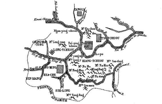 Carte 6, in Gabriel Devéria (1844-1899). La frontière sino-annamite. Ernest Leroux, Paris, 1886.