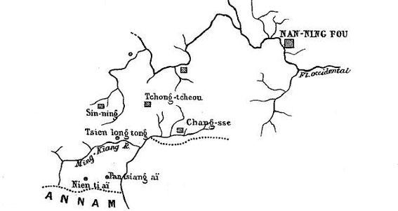 Carte 10, in Gabriel Devéria (1844-1899). La frontière sino-annamite. Ernest Leroux, Paris, 1886.