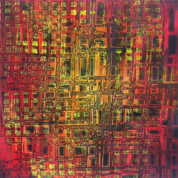 Tecnica mista: digitale, acquerello, acrilico e pastello su cartoncino - cm. 29x29
