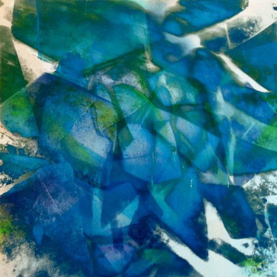 Tecnica mista: digitale, acquerello, olio su cartoncino - cm. 28x28