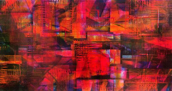 Tecnica mista: digitale, acquerello, olio e pastello su cartoncino - cm. 23x44