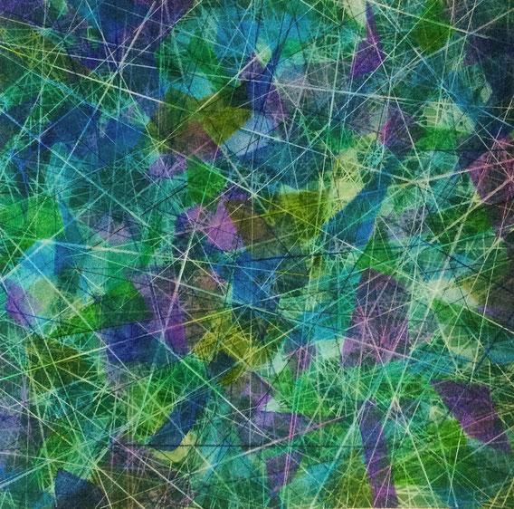 Tecnica mista: digitale, acquerello, tempera, pastello su cartoncino - cm. 29x29