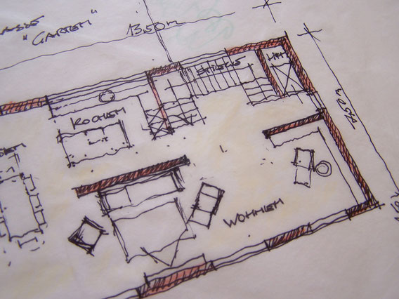 Haus Skizze Einfamilienhaus