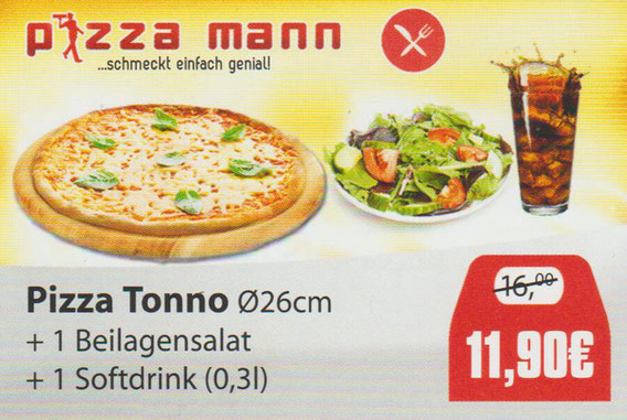 Aktion Pizza Tonno mit Softdrink