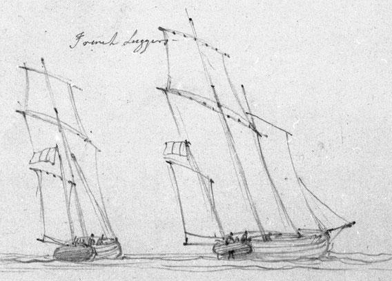 Les lougres français  faisaient l'admiration des anglais sous la Révolution et l'Empire dessin de  Duncan Edward (National Maritime Museum)