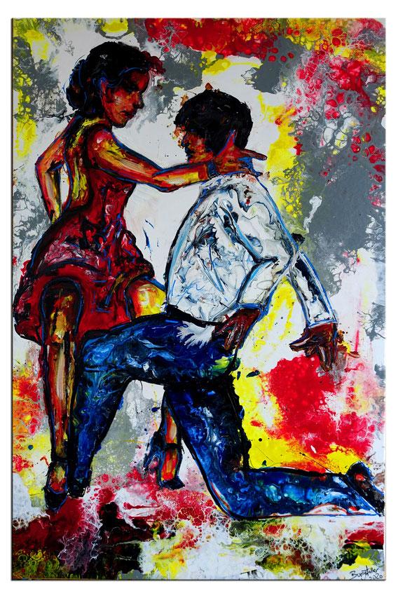 Mambo Fluid Art abstraktes Tänzerbild Tanz Malerei Tänzer Gemälde Acrylbild Studio 60x90