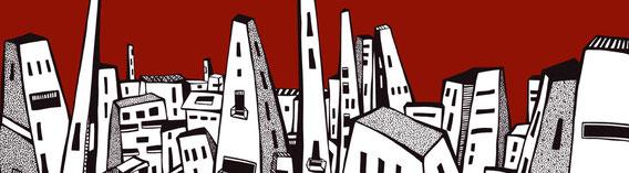 Sonstwo a / Stadt / rot / 279 x 270 cm / Digitaldruck auf Vliestapete, 6 Bahnen