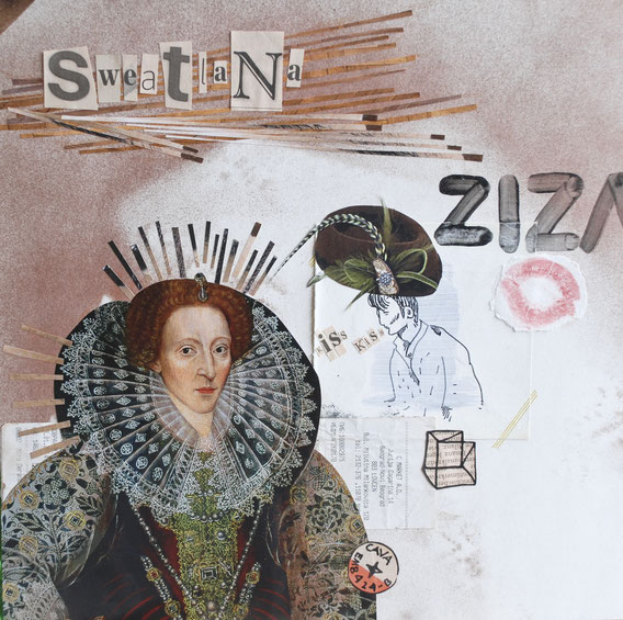Sweatlana Ziza, 2014, 30x30cm, acrylic spray, ink, coloring pen, acryl, aquarell and collage on paper © Cindy Leitner