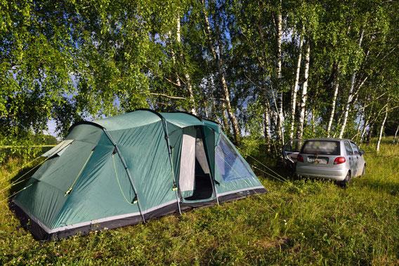Test installation of tent. June 2013.
