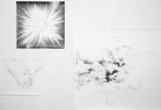 Et la montagne s'est mise à rire, à nouveau (C.F. Ramuz), Mine de plomb sur papier, Dimensions variables, 2015