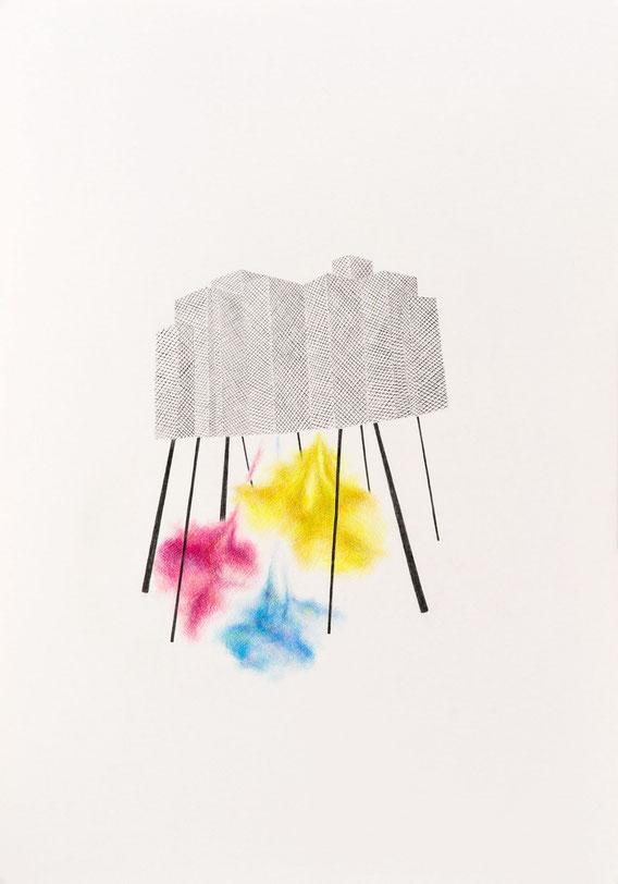 Sans Titre, 70x100 cm, mine de plomb et crayon de couleur, 2011