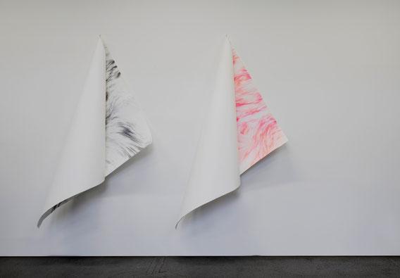 Sans Titre, Mine de plomb, crayon de couleur et acrylique sur papier, 200X400 cm, 2019