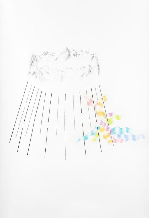 Sans Titre, 180x150 cm, Mine de plomb et crayons de couleur, 2010
