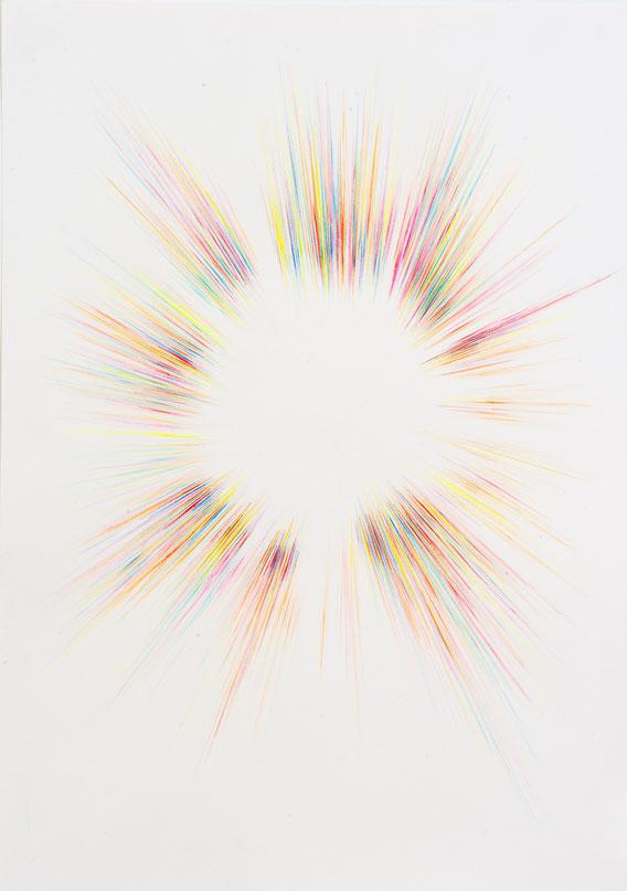 Boom #123, Crayons de couleur et acrylique, 70x50 cm, 2015