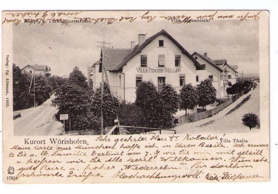 Pension Müller in Wörishöfen, wie K. M. sie kennengelernt hat –Postkarte beschrieben von Pensionsbesitzerin Käti Stieglauer