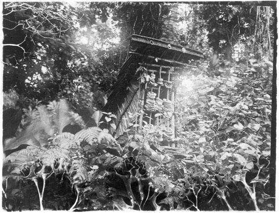 Schädelhaus, Eddystone/Simbo (Salomon-Inseln)– Foto von A. M. Hocart (1908 oder '09)