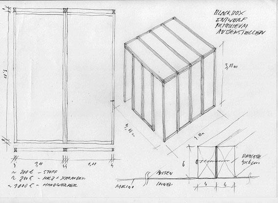 DAS UNSICHTBARE WANDERKINO construction scetch by Gustav Deutsch