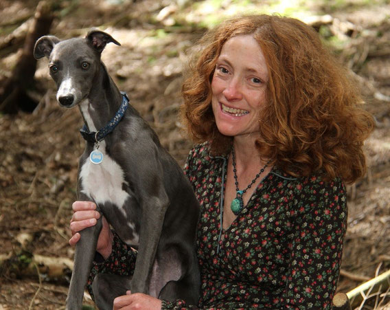 Lucy Gell and her adorable blue whippet dog Betsy