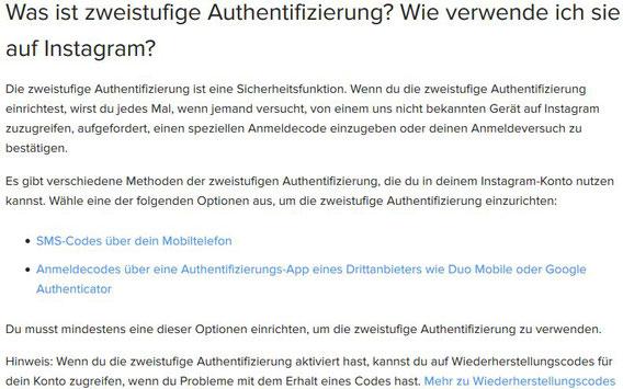 Handy verloren gestohlen zweistufige Authentifizierung oder 2-Faktor-Authentifizierung bei instagram Wiederherstellungscodes vergessen