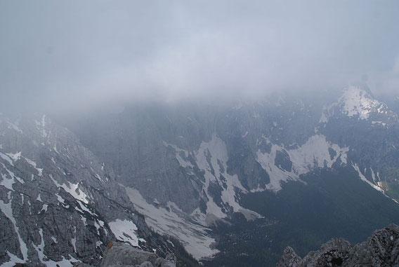 Der Mangart versteckt sich leider im Nebel