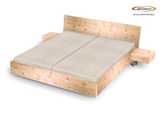 Bild: Zirbenholzbett Kempten mit schwebenden Nachtkästchen, Zirbenbett schwebend, Zirbenbett modern