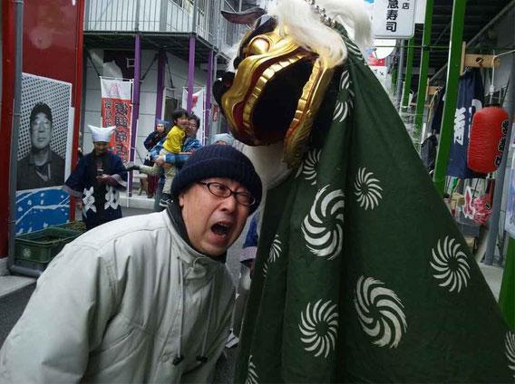 厄払い江戸獅子舞がやってきたー!!! ガブリンチョ!