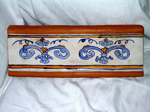 listello ceramica su cotto fatto a mano