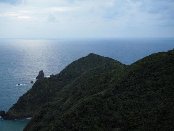急峻な勾配の斜面がそのまま太平洋へと潜り込んでいる。