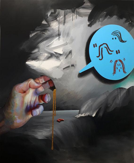 'No Ordinary Inflation!' 170cm x 140cm, Acrylic on canvas, 2019
