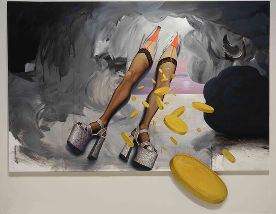 'Golden Shower (L'Origine du Monde)' 2m40x1m92, acrylic on canvas and cardboard, 2017; ; courtesy Galerie Loevenbruck Paris