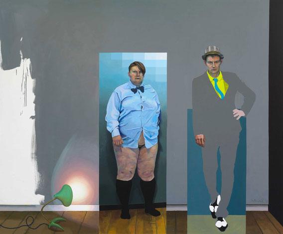 """Jakob + Hans mit Krähenfußlampe vor monochromem Bild"" Acryl auf Leinwand, 280 x 230 cm, 2012"