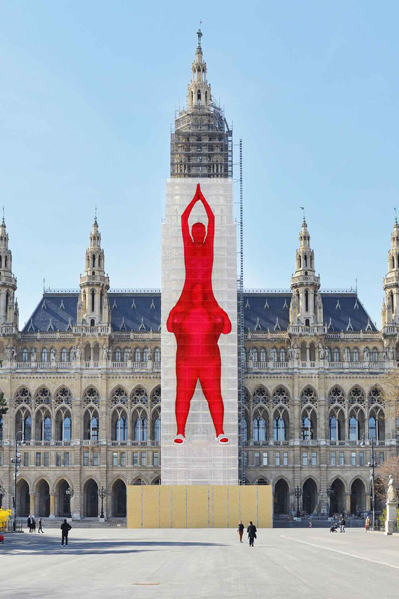 '!' public art project for Vienna townhall by Jakob Lena Knebl and AH Scheirl, height 52m, foto by Georg Petermichl, 2019