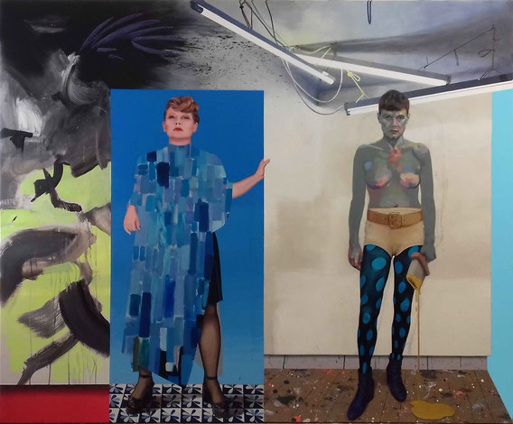 'Tina im Kupkakleid und ich mit Pinsel' ('Tina wearing the Kupkadress and me with a brush'), 280cmx230cm, acrylic on canvas, 2017; courtesy Sammlung Mumok Wien