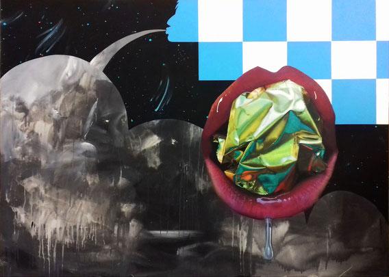 Mouth of Gold, 2018 Acryl auf Leinwand / acrylic on canvas 175 x 130 cm