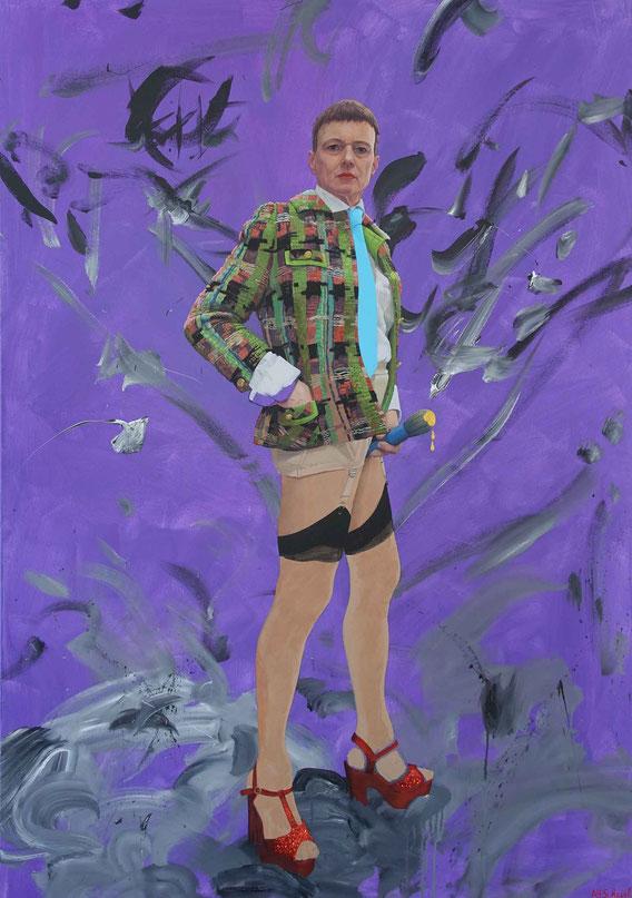 'Selbstportrait mit Pinsel/Selfportrait with Brush', Acryl auf Leinwand, 175cm x 130cm, 2018; courtesy: Sammlung Kunsthaus Bregenz