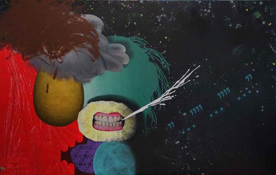 'Hairy Deals', acrylic on canvas, 2m x 1m35; courtesy Galerie Loevenbruck Paris