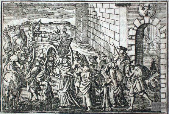IMA.18.001 Ausweisung der Hugenotten und Waldenser aus Savoyen (Kupferstich, 1733) / © Sammlung PRISARD