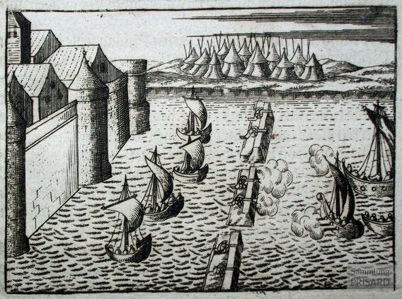 IMA.18.007 Belagerung und Sperrdamm von La Rochelle (Kupferstich, 1733) / © Sammlung PRISARD