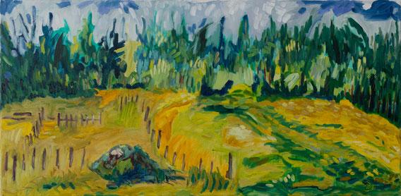 Sommertag im Waldviertel / Öl auf Leinwand / 40x80 cm