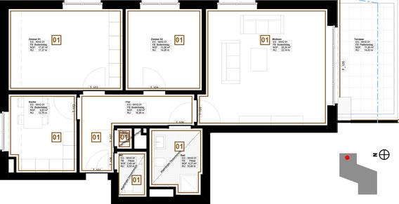 Grundriss Wohnung 1 (zum Vergrößern anklicken)