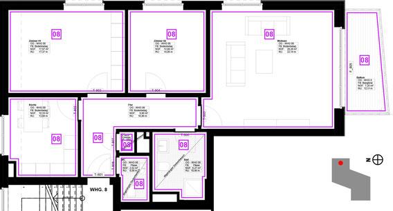 Grundriss Wohnung 8 (zum Vergrößern anklicken)