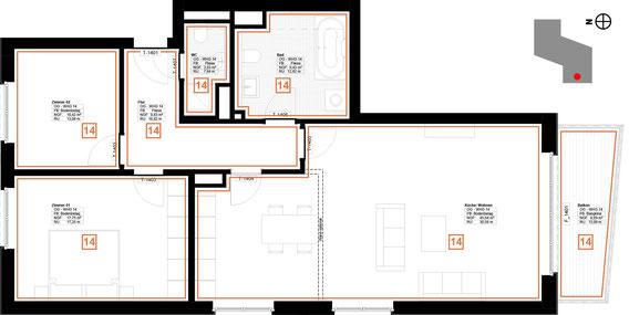 Grundriss Wohnung 14 (zum Vergrößern anklicken)