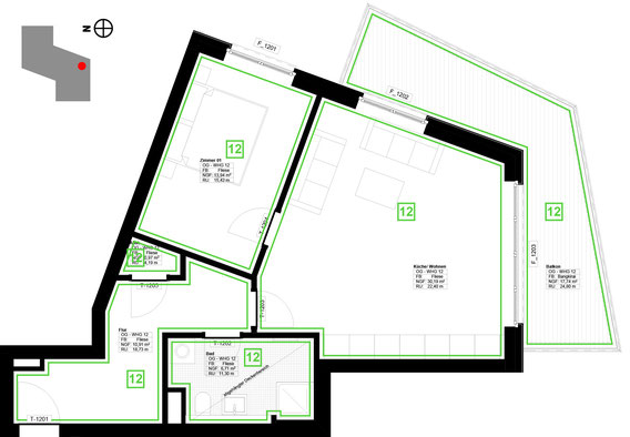 Grundriss Wohnung 12 (zum Vergrößern anklicken)