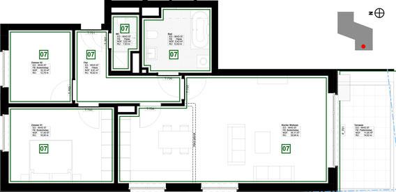 Grundriss Wohnung 7 (zum Vergrößern anklicken)