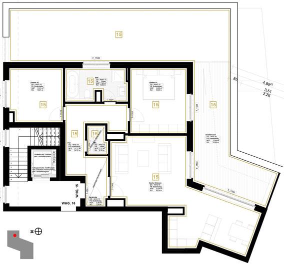 Grundriss Wohnung 15 (zum Vergrößern anklicken)
