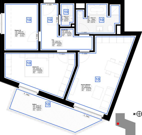 Grundriss Wohnung 10 (zum Vergrößern anklicken)