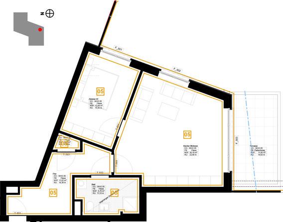 Grundriss Wohnung 5 (zum Vergrößern anklicken)