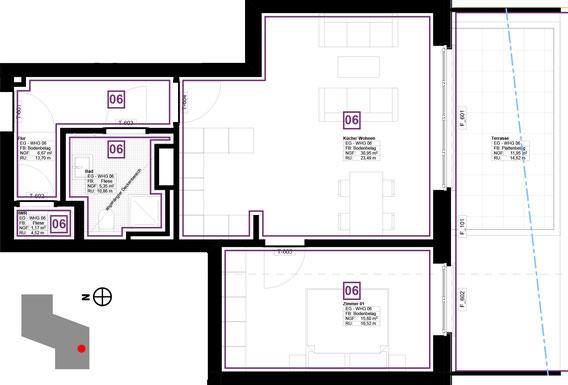 Grundriss Wohnung 6 (zum Vergrößern anklicken)