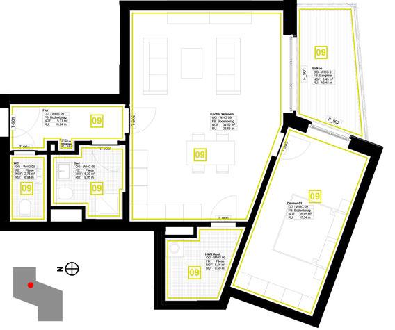Grundriss Wohnung 9 (zum Vergrößern anklicken)
