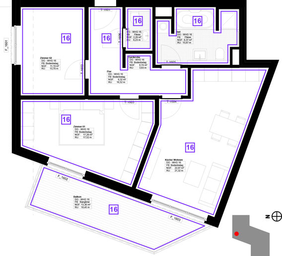 Grundriss Wohnung 16 (zum Vergrößern anklicken)